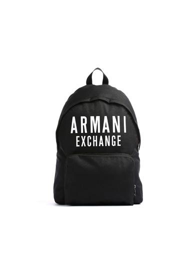Armani Exchange Armani Exchange 952336 9A124 00020 Polyester Logo Baskılı Erkek Sırt Çantası Siyah